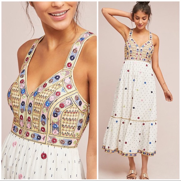 Anthropologie Dresses & Skirts - NWT embroidery sleeveless maxi dress
